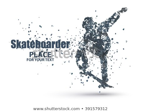 Skateboarder jump on skateboard, particle divergent composition, vector  stock photo © Samoilik