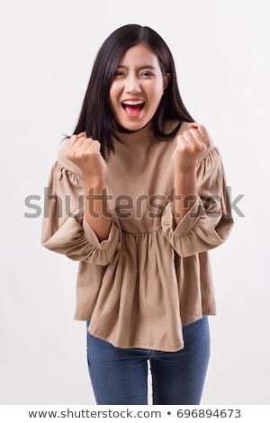 Mädchen glückliches Gesicht schreien Illustration Kind Studenten Stock foto © bluering