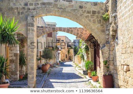 Narrow street in the medieval town of Rhodes. Stock photo © FER737NG