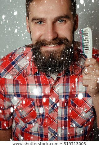 Férfi borotválás szürke jóképű fiatalember izolált Stock fotó © deandrobot
