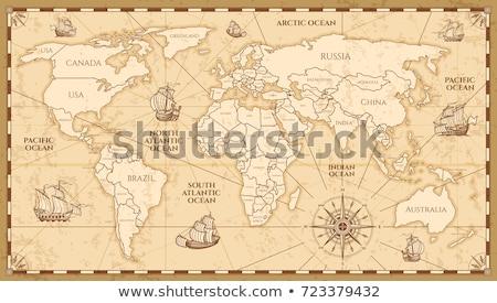 レトロな · 世界地図 · 古い紙 · テクスチャ · 黄色 · 図書 - ストックフォト © Evgeny89