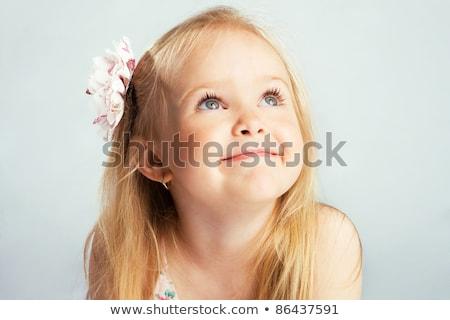 Portré gyönyörű kislány szőke haj szemek Stock fotó © courtyardpix