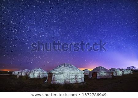 rebanho · camelos · montanha · montanhas · Mongólia · céu - foto stock © bbbar