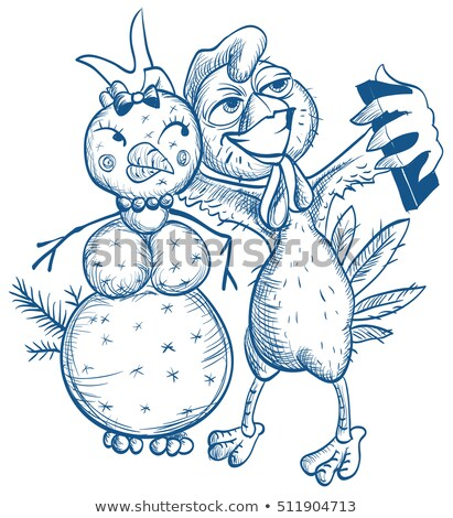 Funny selfie Blue cock and snowman Stock photo © orensila