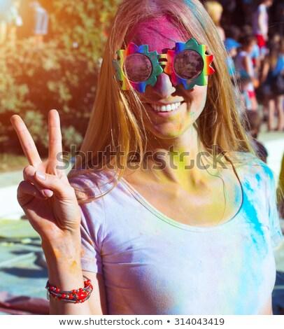 retrato · feliz · jovem · festival · jovem · morena - foto stock © yatsenko