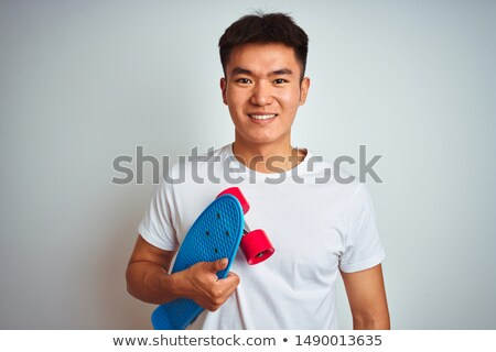 Delightful young backpacker with tablet Stock photo © dash