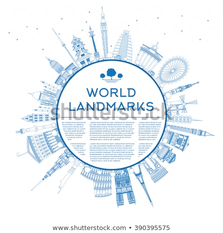 Stok fotoğraf: Travel Text Outline With World Landmarks Illustration