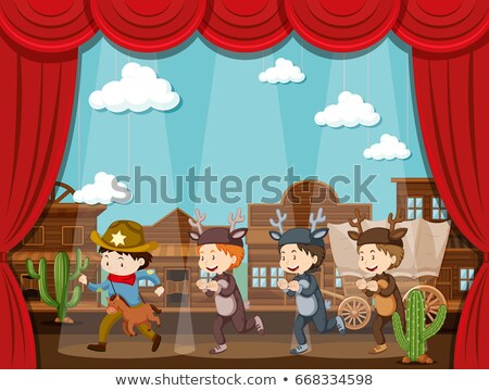 Cowboy and deer on stage play Stock photo © bluering