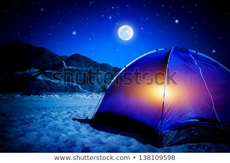 Night landscape. Tent and moon. Stock photo © rwgusev