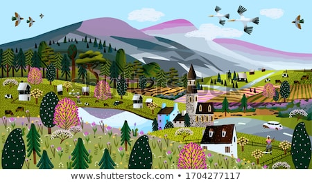 Spring landscape with a chapel in the mountains Stock photo © Kotenko