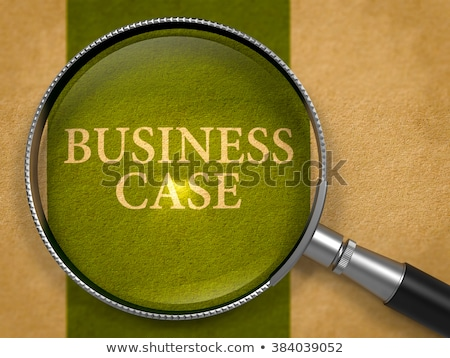 Affaires cas lentille vieux papier sombre vert Photo stock © tashatuvango
