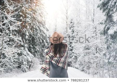 gülen · güzel · genç · kadın · uzun · saçlı · kış · orman - stok fotoğraf © pilgrimego