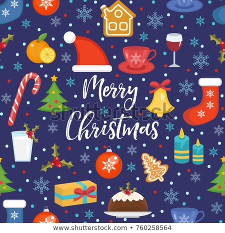 merry christmas seamless pattern flat style holiday infinite background new year repeating textur stock photo © lucia_fox