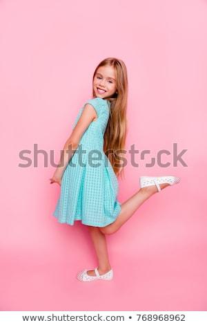Portret weinig schoolmeisje uniform rugzak Stockfoto © deandrobot