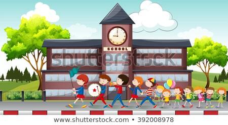 zenekar · gyerekek · hangszerek · séta · mögött · hordoz - stock fotó © bluering