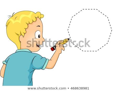 Kid Junge verfolgen Illustration wenig Zeichnung Stock foto © lenm