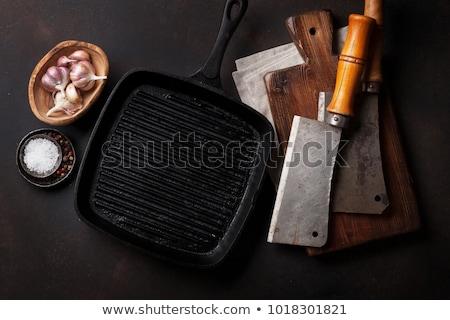 Stok fotoğraf: Kasap · bağbozumu · et · bıçaklar · tahta · üst