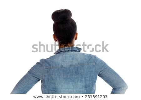 Portret jonge vrouw handen heupen vrouwelijke Stockfoto © IS2