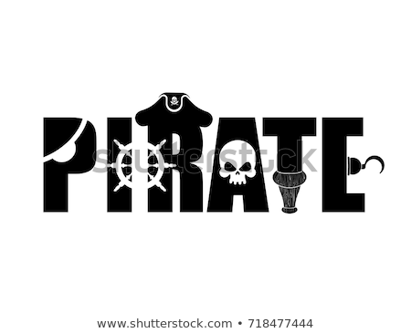 Pirate typography sign. Letters and Eye patch. Wooden filibuster Stock photo © popaukropa
