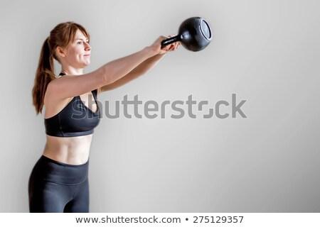 ケトルベル · 女性 · トレーニング · 赤 · ジム - ストックフォト © sumners