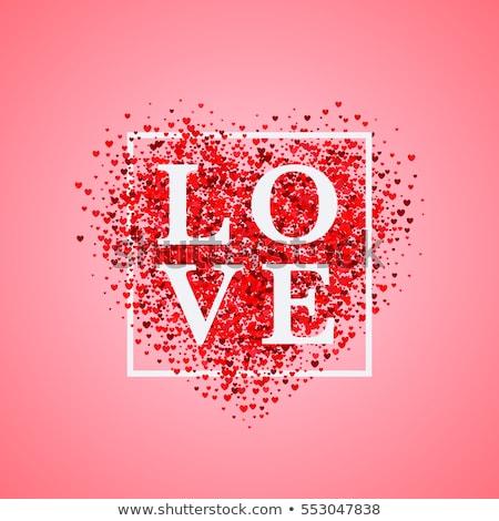 Valentijnsdag partij flyer illustratie Rood hart Stockfoto © articular