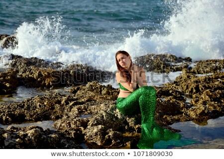 Stok fotoğraf: Portrait Of Pensive Rock Woman Looking To Side