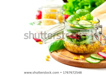 Salad in glass jar Stock photo © Melnyk