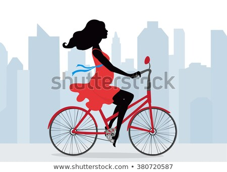 Pregnant woman ride on city bicycle Stock photo © toyotoyo