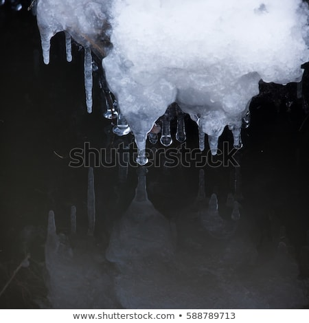 Small round icicles over water Stock photo © Juhku