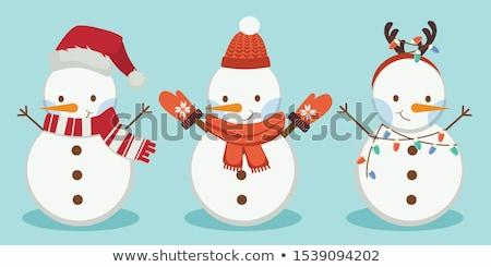 かわいい · 雪だるま · クリスマス · グリーティングカード · デザイン · 背景 - ストックフォト © bluering