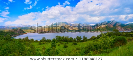 Spanyolország nyár zöld hegyek tó Európa Stock fotó © lunamarina