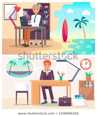 Trabalhadores de escritório sonho viajar quente país cansado Foto stock © robuart