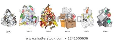металл · отходов · контейнера · оранжевый · эмблема · Recycle - Сток-фото © robuart