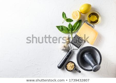 Pesto salsa ingredientes italiano alimentos vidrio Foto stock © YuliyaGontar