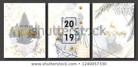 Karácsony új év arany szarvas üdvözlőlap vidám Stock fotó © cienpies