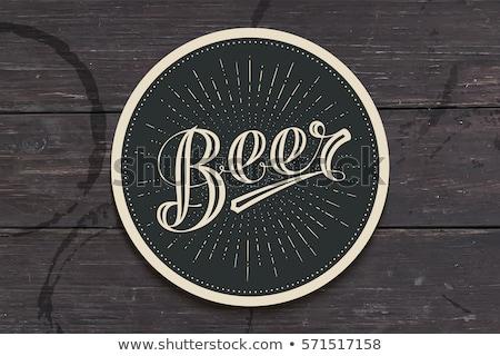 ストックフォト: コースター · ビール · 手描き · モノクロ · ヴィンテージ · 図面
