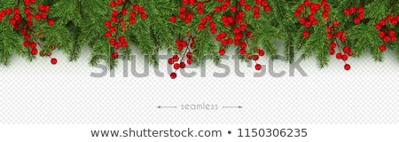 Fir Tree Border With Red Background Stock photo © adamson