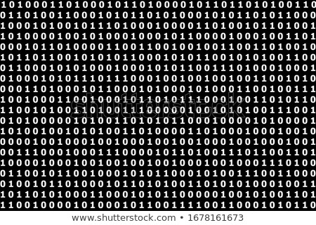 Binary code black and white background with digits on screen. Format 16:9. Stock photo © kyryloff