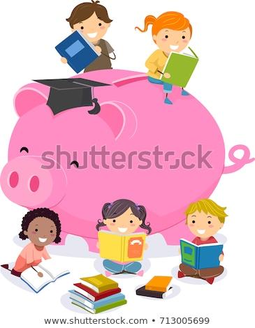 Stickman Kids Financial Investments Illustration Stock photo © lenm