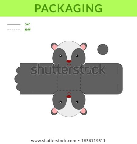 Skunks naklejki szablon ilustracja rysunek cartoon Zdjęcia stock © bluering