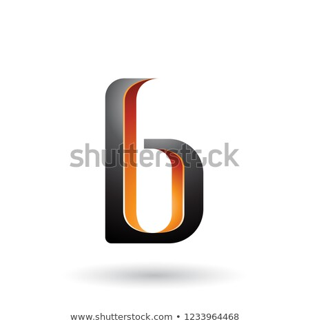 Orange and Black Shaded Letter B Vector Illustration Stock photo © cidepix