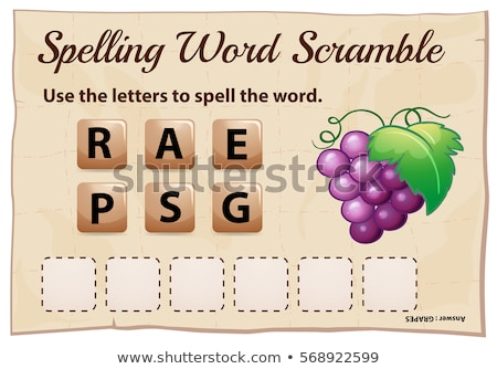 spelling word scramble game template with word grapes stock photo © colematt
