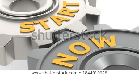New Start on the Golden Cogwheels. 3D Illustration. Stock photo © tashatuvango