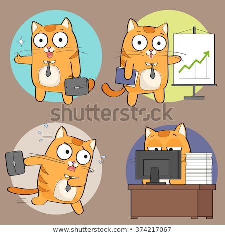 かわいい · 猫 · ノートパソコン · オープン · 赤ちゃん - ストックフォト © olllikeballoon