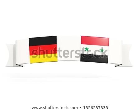 Banner twee vierkante vlaggen Duitsland Syrië Stockfoto © MikhailMishchenko