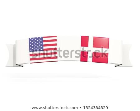 Danimarka · bayrak · 3d · render · yansıma - stok fotoğraf © mikhailmishchenko