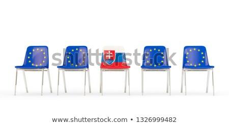 Row of chairs with flag of EU and slovakia Stock photo © MikhailMishchenko