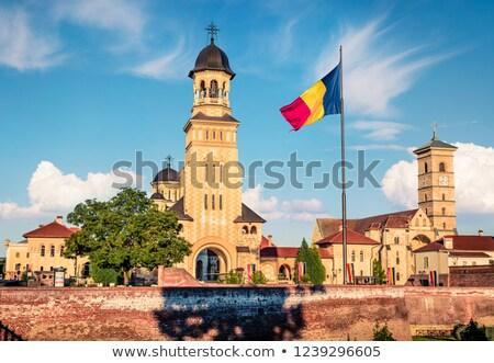Ev bayrak Romanya beyaz evler Stok fotoğraf © MikhailMishchenko