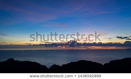 Seascape with blue sea horizon and cloudy blue sky. Aerial bird's eye view from drone. Copy space. N Stock photo © artjazz