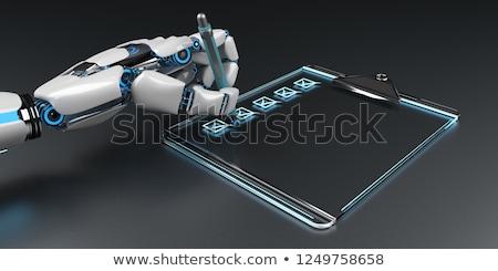Robô clipboard estetoscópio mão ilustração 3d Foto stock © limbi007